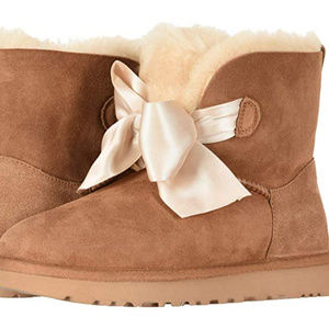 UGG GITA BOW SUEDE SHEARLING BOOTS NEW CHESTNUT